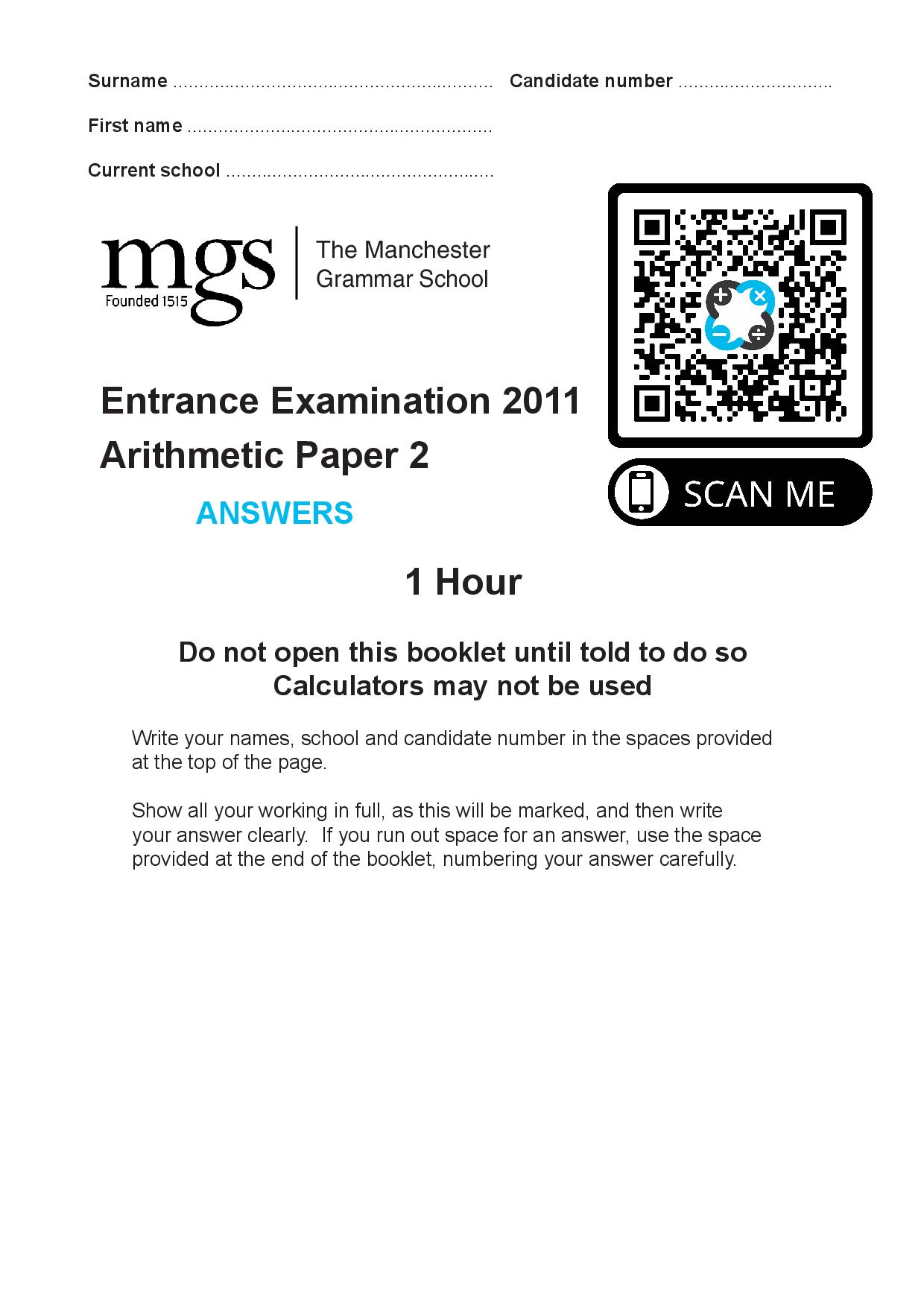 The Manchester Grammar School Entrance Examination 2011 Arithmetic Paper 2 Answer Paper page 001