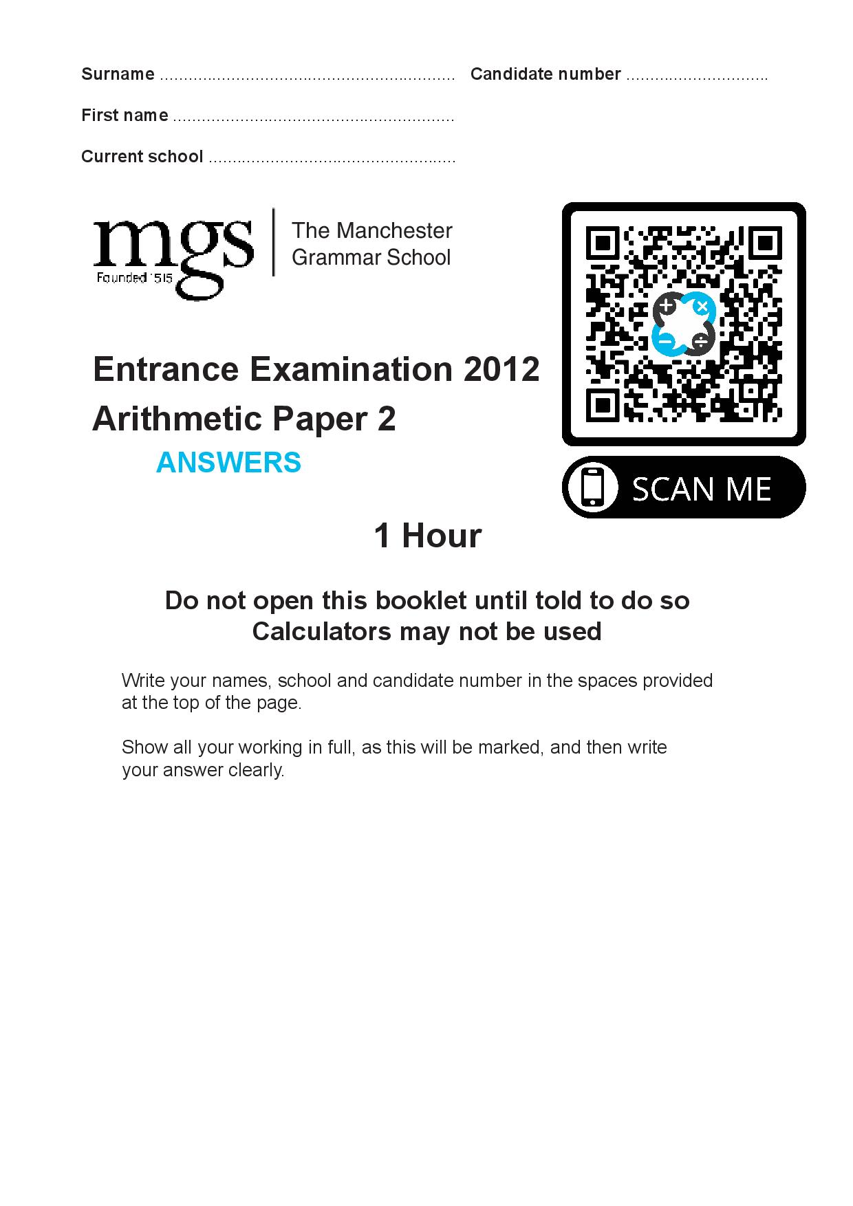 The Manchester Grammar School Entrance Examination 2012 Arithmetic Paper 2 Answer Paper page 001