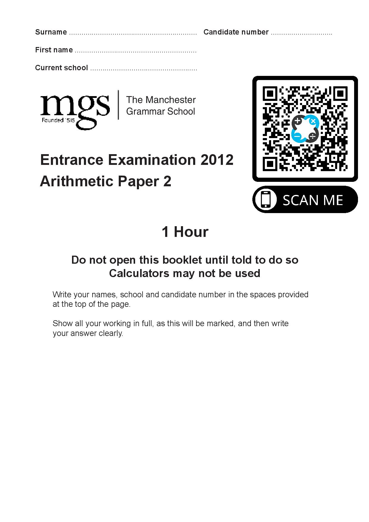 The Manchester Grammar School Entrance Examination 2012 Arithmetic Paper 2 Questions Paper page 001