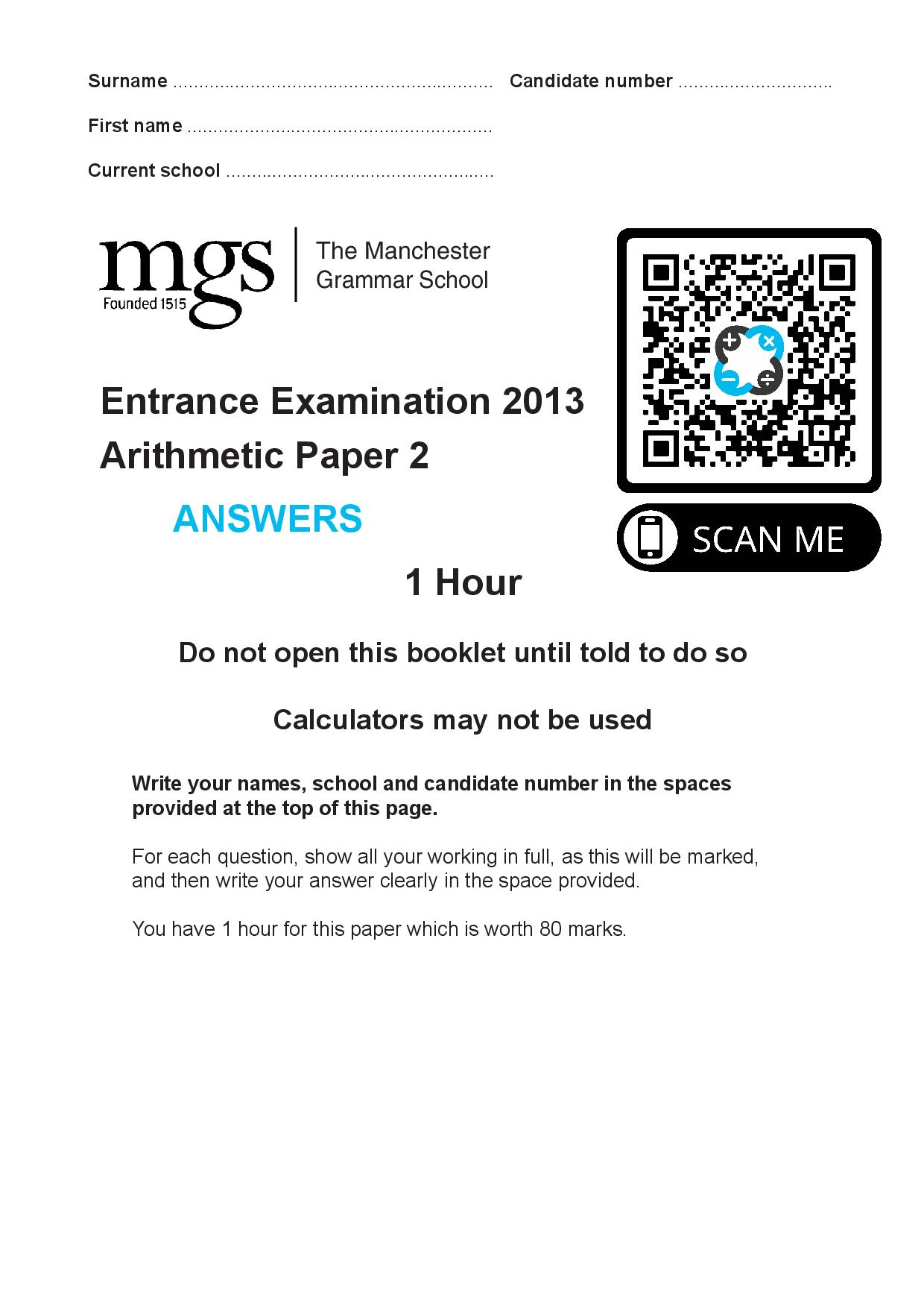 The Manchester Grammar School Entrance Examination 2013 Arithmetic Paper 2 Answer Paper page 001