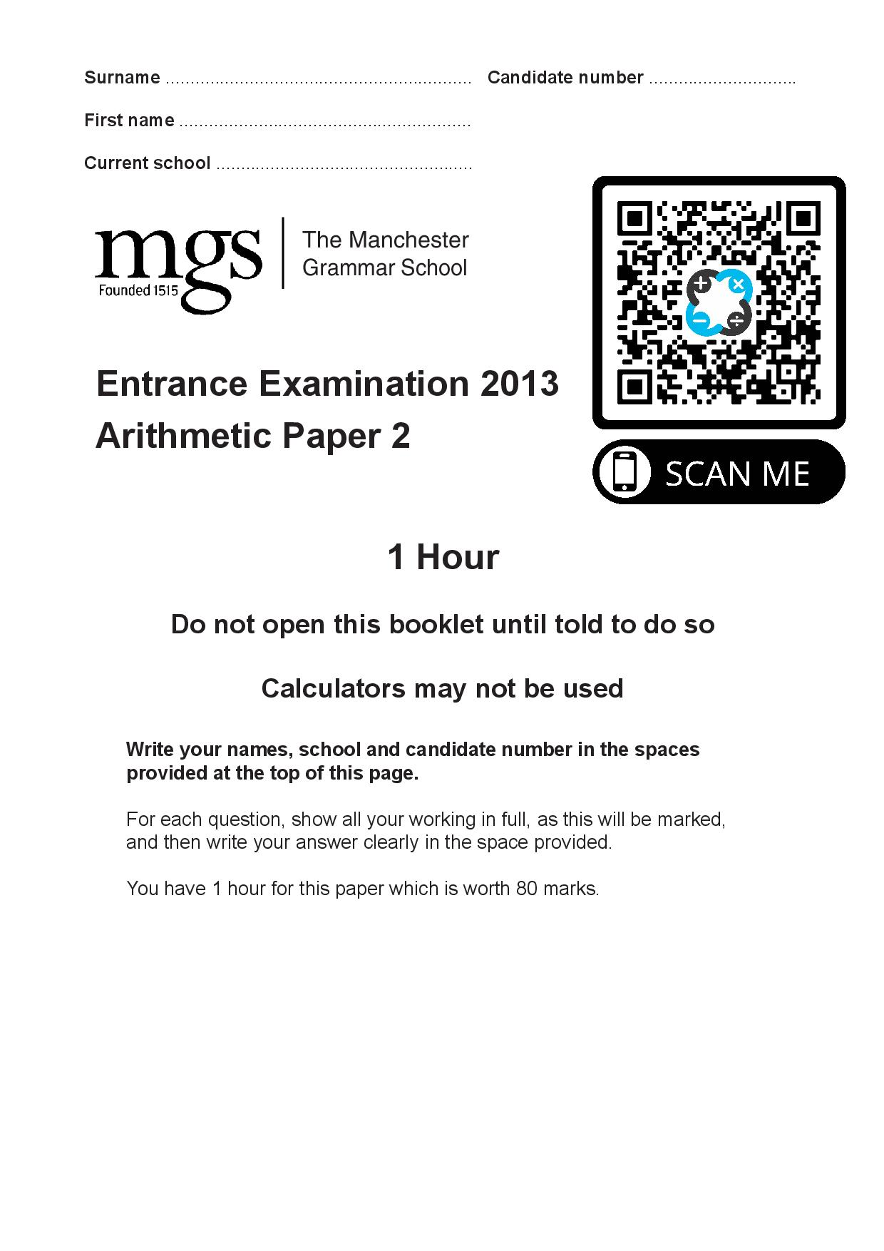 The Manchester Grammar School Entrance Examination 2013 Arithmetic Paper 2 Questions Paper page 001