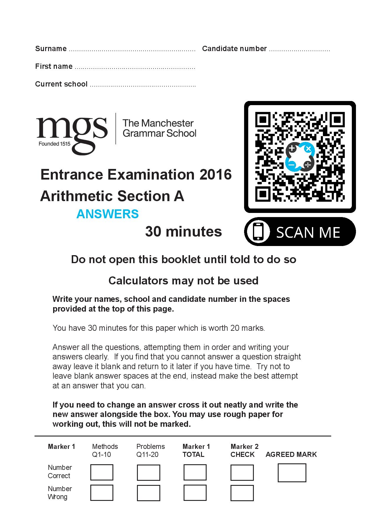 The Manchester Grammar School Entrance Examination 2016 Arithmetic Section A Answer Paper page 001