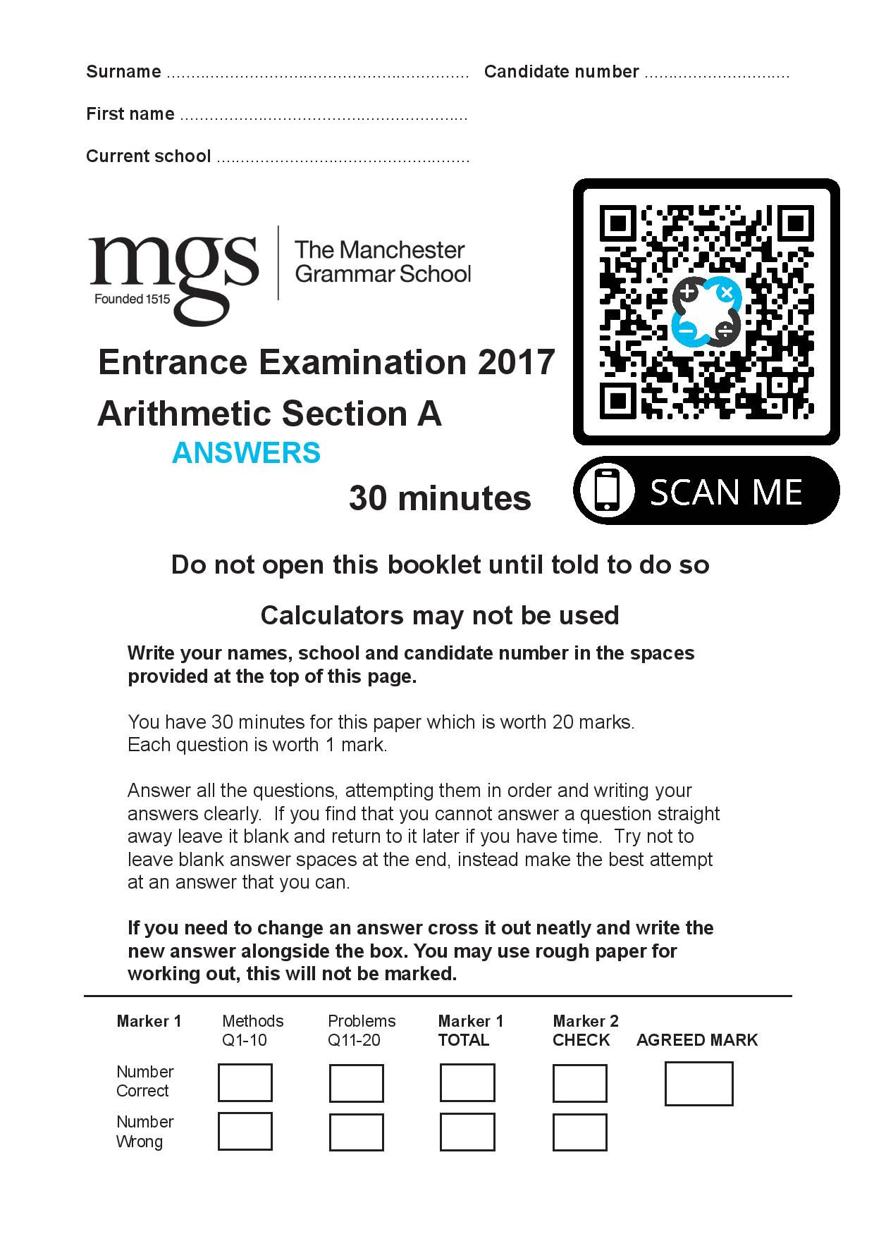 The Manchester Grammar School Entrance Examination 2017 Arithmetic Section A page 001