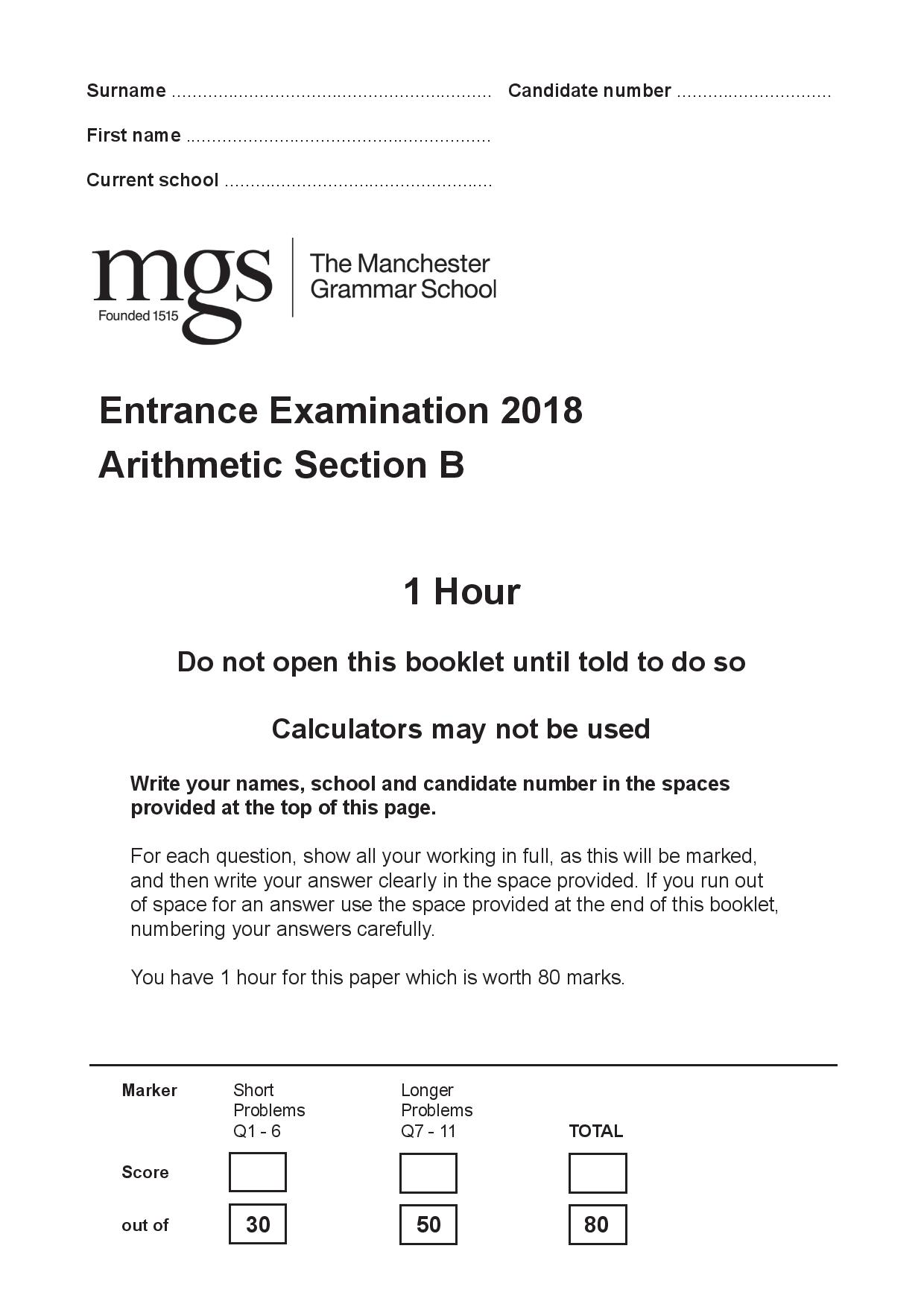The Manchester Grammar School Entrance Examination 2018 Arithmetic Section B Answer Paper page 001
