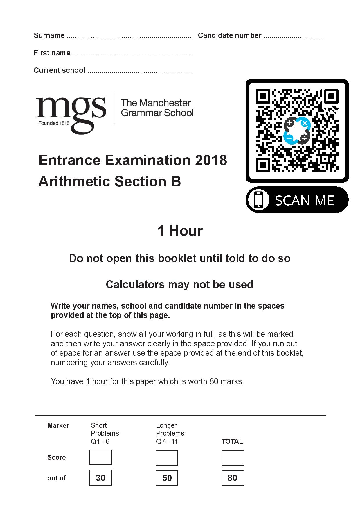 The Manchester Grammar School Entrance Examination 2018 Arithmetic Section B Questions Paper page 001