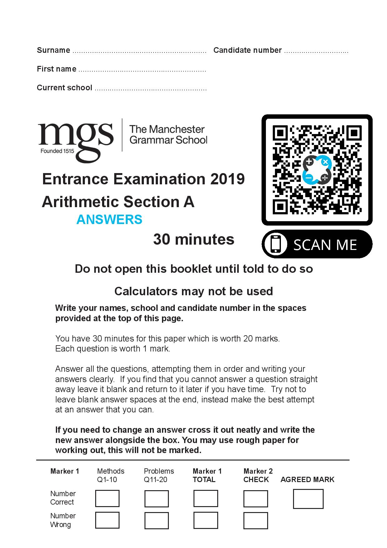 The Manchester Grammar School Entrance Examination 2019 Arithmetic Section A Answer Paper page 001