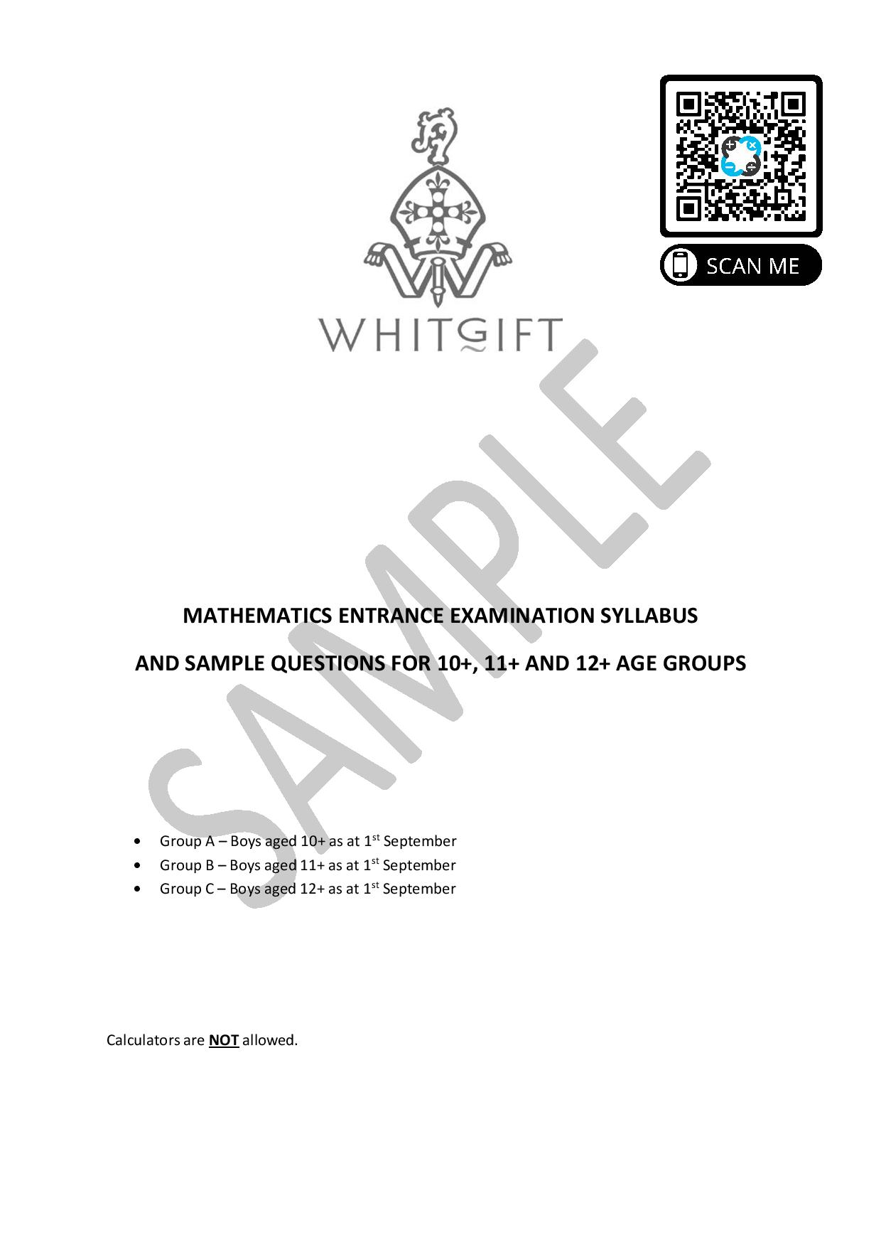 Whitgift School Maths Entrance Exam Sample Questions page 001