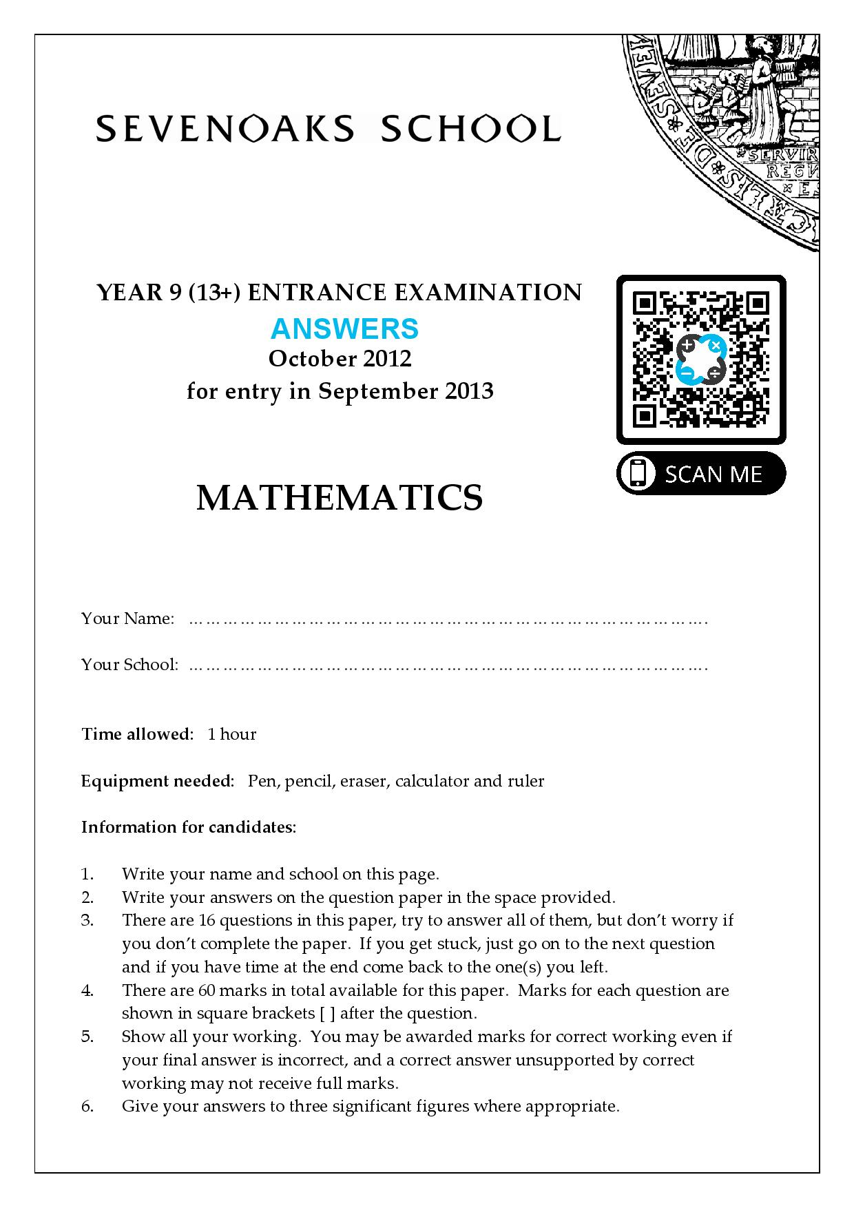 YEAR 9 13 ENTRANCE EXAMINATION 2011 Answer Paper page 001