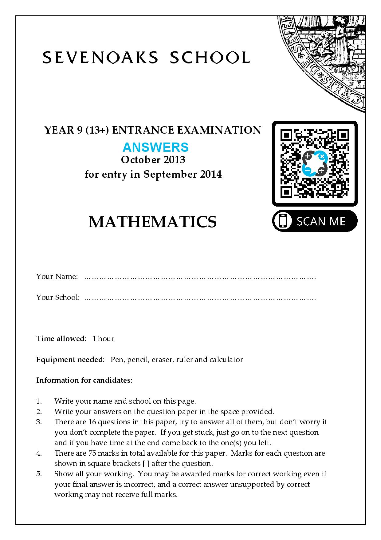 YEAR 9 13 ENTRANCE EXAMINATION 2013 Answer Paper page 001