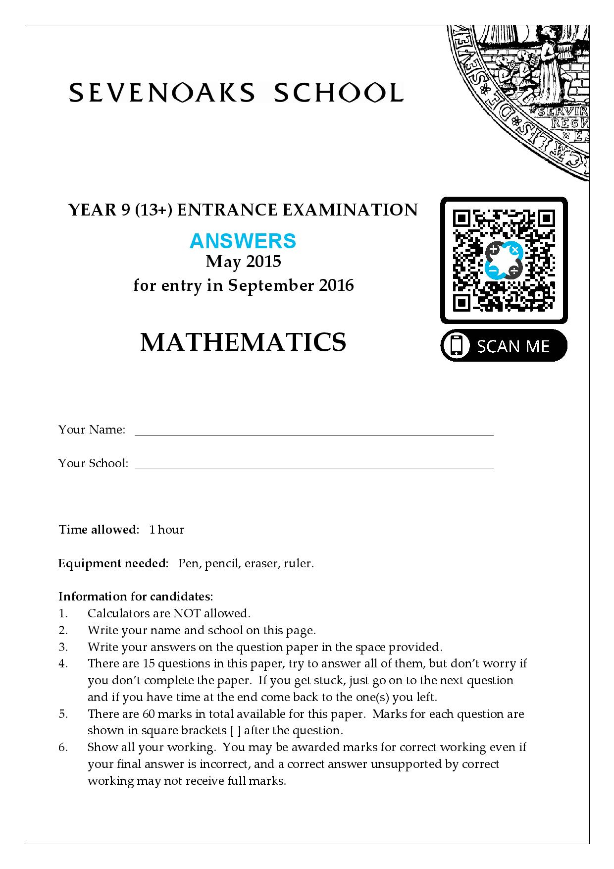 YEAR 9 13 ENTRANCE EXAMINATION 2015 Answer Paper page 001