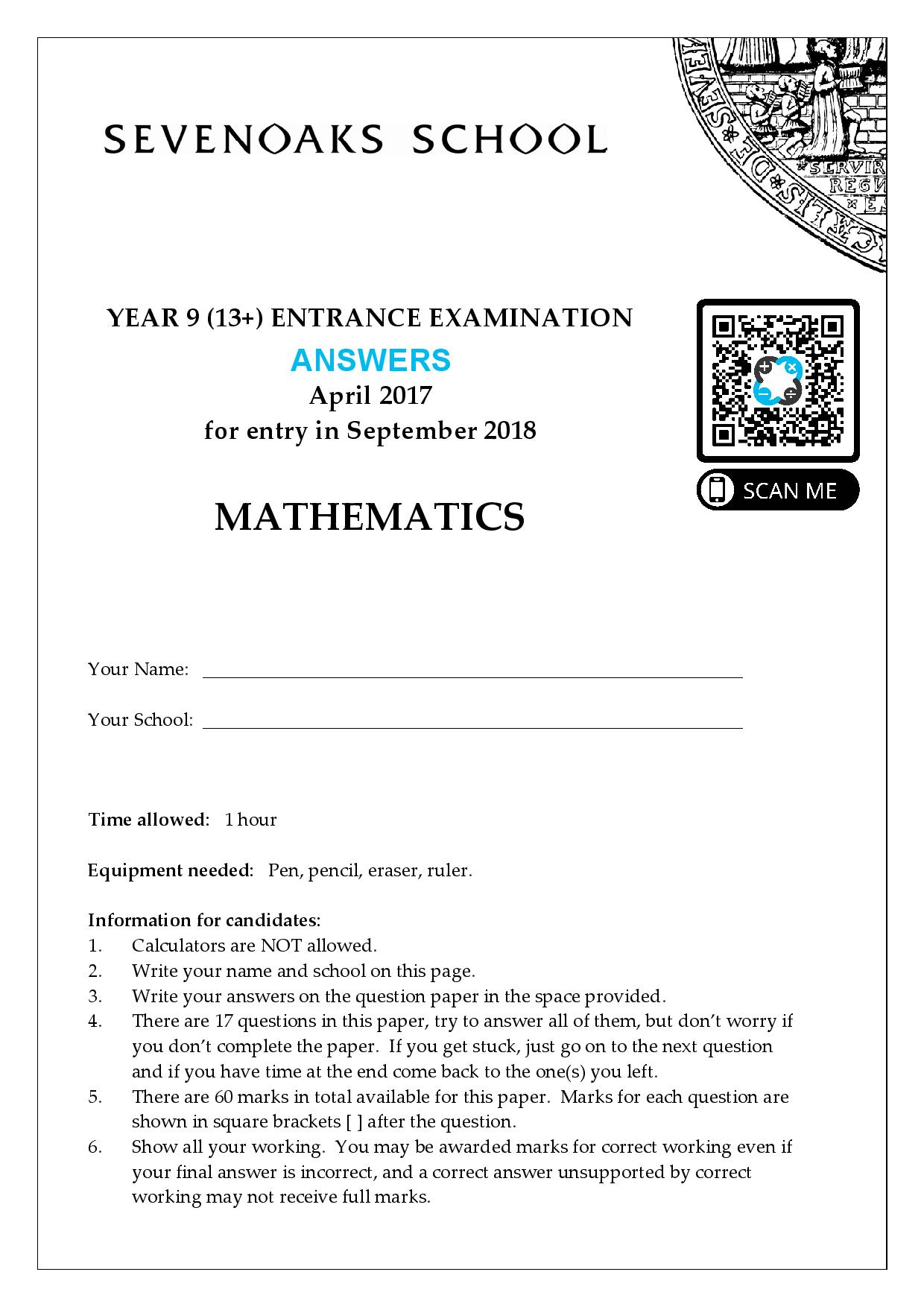 YEAR 9 13 ENTRANCE EXAMINATION 2017 Answer Paper page 001