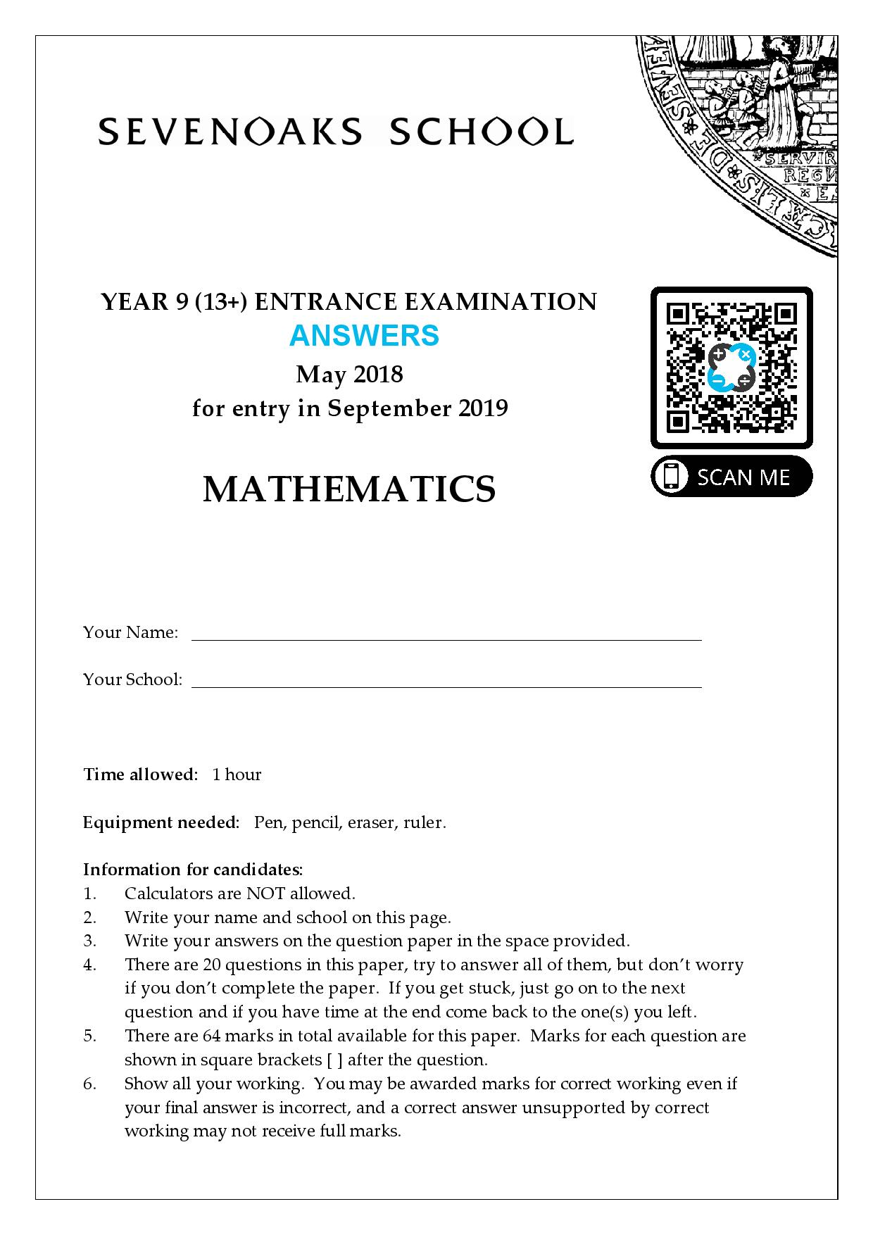 YEAR 9 13 ENTRANCE EXAMINATION 2018 Answer Paper page 001 2