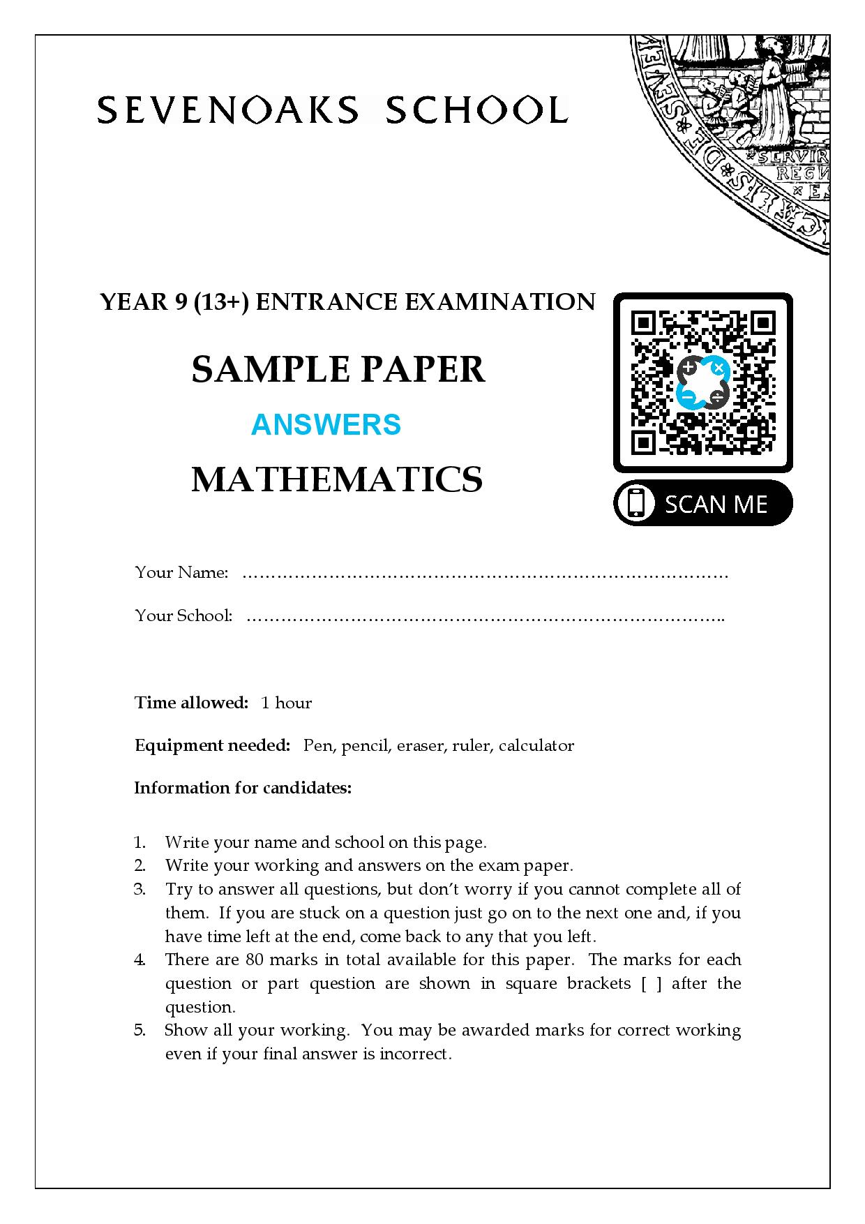 YEAR 9 13 ENTRANCE EXAMINATION SAMPLE PAPER MATHEMATICS Answer Paper 1 page 001