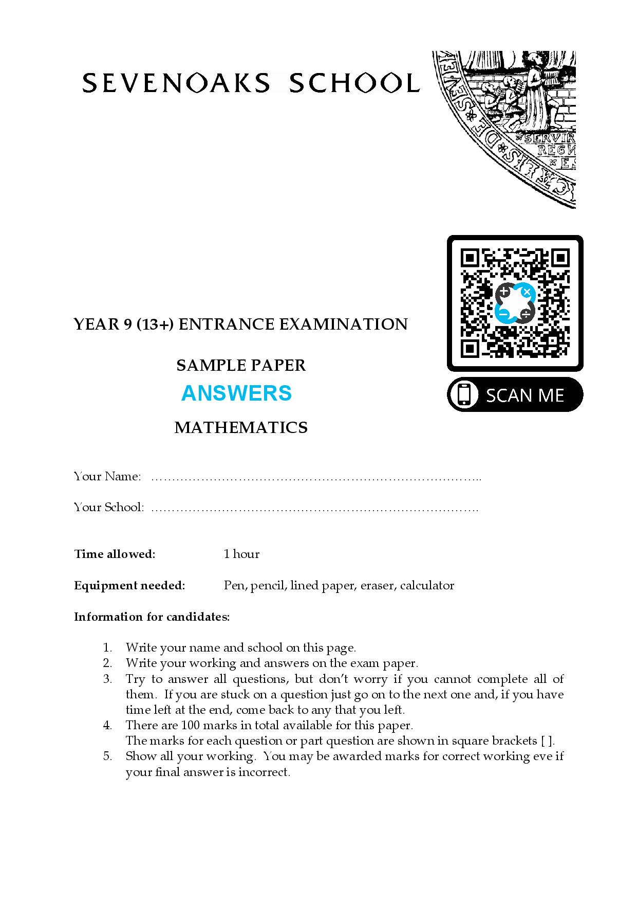 YEAR 9 13 ENTRANCE EXAMINATION SAMPLE PAPER MATHEMATICS Answer Paper page 001